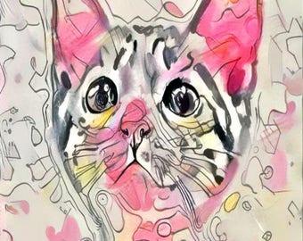 ATC ACEO Violette Cat Kitten Kitty pink Art Card