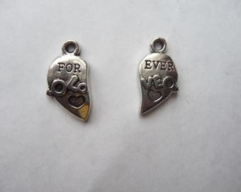 SALE!! Pendants, Antique Silver Broken Heart 22x11mm,  Forever Love, One Pendant for Both. SALE!!