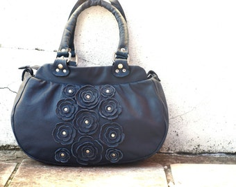 Mini Lacy Flowers Leather Handbag in Dark Sapphire. Made to order
