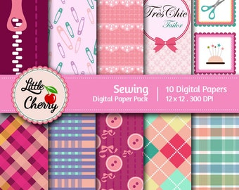 Sewing- 10 printable Digital Scrapbooking papers - 12 x12 - 300 DPI