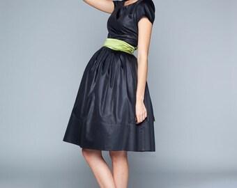 Black silk dress Little black dress Silk evening dress 1950s dress Black party dress Black evening dress LBD Made to order dress
