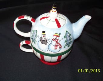 Snowman Personal Teapot and Cup Set