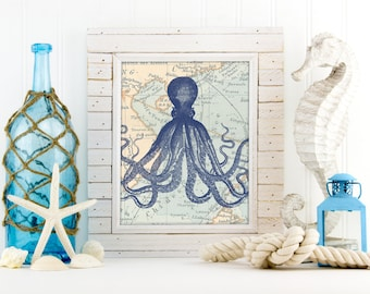 Octopus print, nautical nursery decor, Nautical Art Prints, Vintage Nautical Art,  Ocean Sea Art Print,  octopus poster, octopus art, A-1037