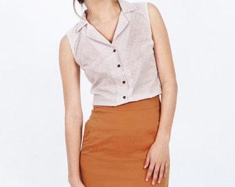 Orange summer skirt, orange cotton skirt, orange pencil skirt, A line skirt, orange summer skirt, knee length skirt, high waisted skirt