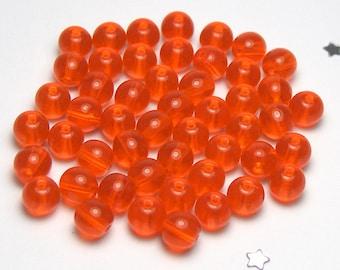 6mm Czech Druk Bead - Transparent Orange - 50 beads - Orange Citrus, Orange Crush, Summer Fresh, Orange Pop