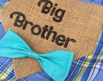 Big Brother dog bandana, burlap bow tie , birth announcement, gender reveal photo prop