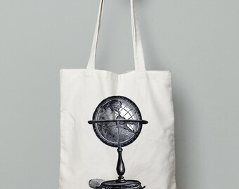 Travel tote bag, wanderlust tote bag, vintage globe, canvas tote bag