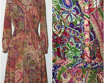 Vintage Pretty Floral Print Ruffle Neck Day Dress/ Large