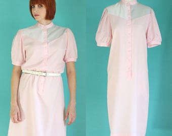 Vintage 70s Pastel Pink Dress - Puffy Sleeve Shirt Dress - Color Block Dress - Short Sleeve Dress - Button Front Shift Dress - Size Medium