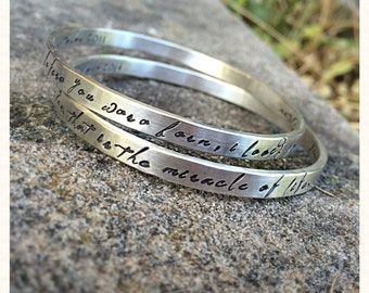 Set of TWO Thick Sterling Silver Bangles - Personalized Inside or Outside - Fully Customizable - Choice of Many Fonts and Finishes - Message