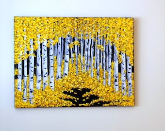 """BIRCH TREE DECOR- Original Abstract Acrylic Autumn Leaves Landscape Painting, 18"""" x 24"""" Wrapped Canvas, Yellow Fall Foliage Contemporary Art"""