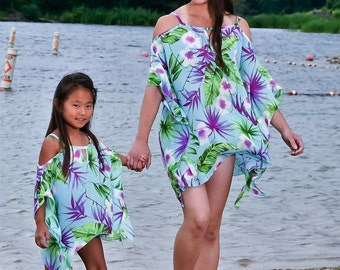 Hawaiian flower chiffon beach cover up,Tropical Floral Cover up, Mommy and me, Cover up, vacation, beach,swimsuit cruise- resort  fun dress