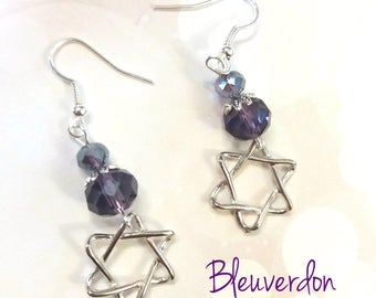 Star earrings and plum beads