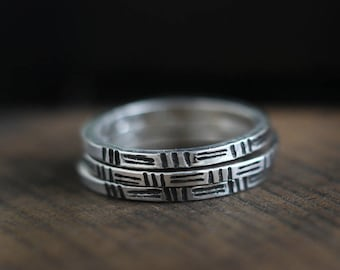 Stamped Sterling Silver Stacking Ring-Free Shipping, sterling ring, silver ring, black and white,