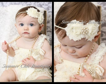 Romper AND Headband Set Ivory Petti Romper, Lace Romper, Petti Romper, Baby Romper, Ivory Romper and Headband Set