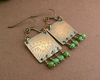 Ethnic etched square copper earrings czech glass beads turquoise