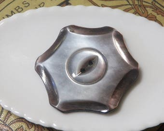 Smoky Mother of Pearl Shell Button Hexigon Shape