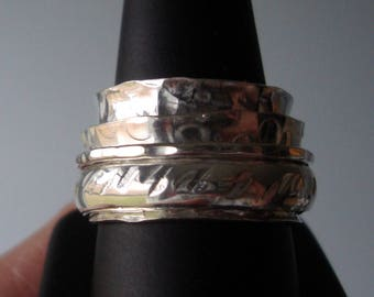 Spinner ring - 4 rings (13mm, 9mm, 4.5mm, 1.5mm) - hammer patterned artisan forged - solid .925 sterling silver  - READY to Mail - Size 9