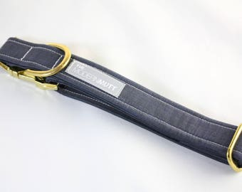 "Dog collar ""The Linen"" in navy"