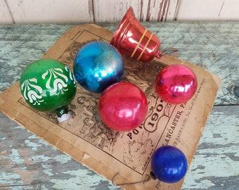 Retro Christmas Ornament Set of 6 - Vintage Shiny Bright Holidays Balls, Retro Christmas Bells, Mercury Glass, Antique Festive Decorations