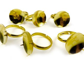 6 x Supports 4 prong ring setting 16mm adjustable gold