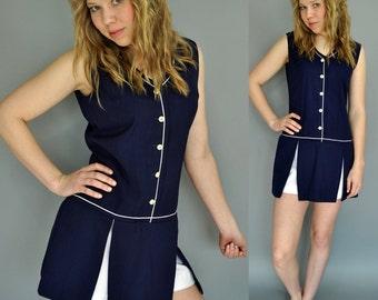 60s tennis ROMPER shorts - onsie TENNIS dress w/ under shorts & panel skirt S / Small
