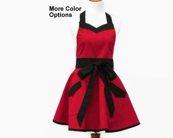 Plus Size Solid Retro Apron in 12 Color Options, Plus Solid Red & Black Apron, Plus Retro Apron Pink and Black, Retro Apron Solid Plus Size