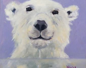 Original Oil Painting Polar Bear White Arctic Ocean Animal Cute Wet Black Nose Home Decor Shabby Chic Style Farmhouse Purple Snow White USA