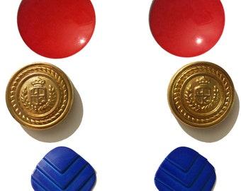 American Summer Vintage 80's Lot of 3 Pairs Pierced Earrings