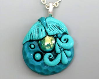 Polymer Clay Pendant, Mermaid Tail in Aqua Blue with Vintage Emerald Glass Cabochon, Ocean Pendant, Mother's Day Gift Idea