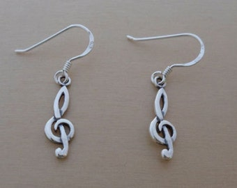 925 Sterling Silver Drop Dangling Treble Clef Music Earrings