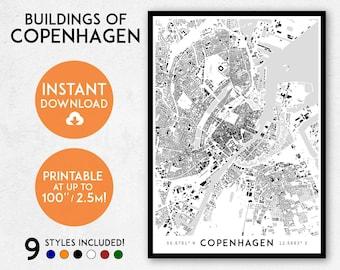 Copenhagen map print, Printable Copenhagen map art, Copenhagen print, Denmark map, Copenhagen art, Copenhagen poster, Copenhagen wall art
