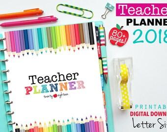 2018 Teacher Planner, PDF Printable Pages, Inserts - January 2018-December 2018, Lesson Planner, Calendar, Teaching, Australia