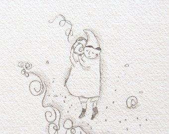 sounds of the sea, childrens illustration, seashell art, ocean pencil drawing, whimsical, sound healing art, ORIGINAL doodle
