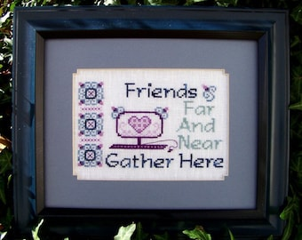 "Cross Stitch Instant Download Pattern ""Friends Far And Near"" Counted Embroidery Chart Friendship Sentiment Saying Technology X stitch"