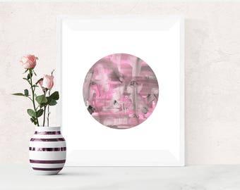 Pink Grey Abstract Painting, Pink Circle, Printable Art, Pink Watercolor Print, Pink and Grey, Abstract Watercolour Print, Modern Wall Art