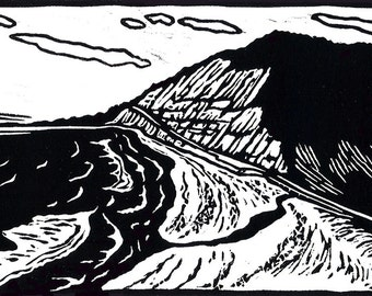 SR1, Waddell Creek - Original Linoleum Block Print