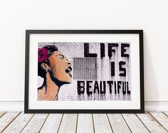 Life Is Beautiful by Mr Brainwash Street Art Print