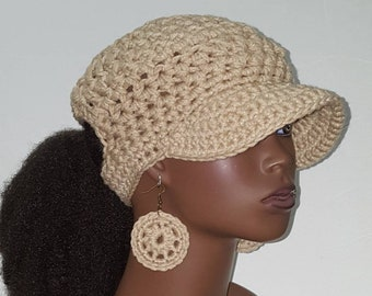 Oatmeal PonyTail Crochet Baseball Cap with Hoop Earrings  by Razonda Lee Razondalee Choose Your Color Made to Order