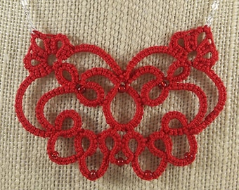 Lace Butterfly Tatted Necklace, Red, Handmade lace jewelry, Sterling silver chain, 18""