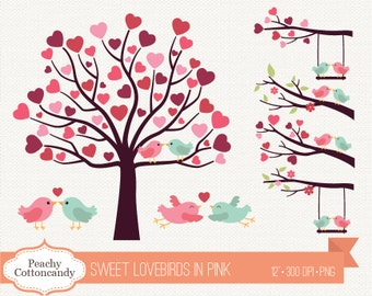 BUY 2 GET 1 FREE Sweet Lovebirds clipart in pink blue - Love birds clip art - Love bird on branch & tree wedding clipart, Commercial Use Ok
