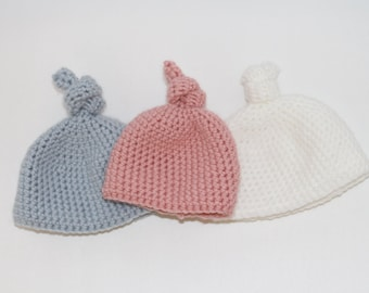 Newborn Crocheted Knot Hat Beanie Toque
