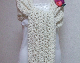 Baby Alpaca Stole Scarf Off-white (A)