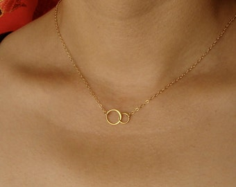 Two Circle Necklace Tiny Linked Circles Necklace in Gold,Mother's Day Gifts wedding, bridesmaid gift, w