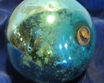 Antique blue mercury glass kugel, christmas ornament, late 19th century decoration
