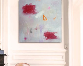 Abstract original painting on canvas 15,7 in x 15,7 in. Mixed media Art