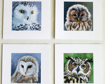 Owl print set - Owl faces - Owl art - Birds of prey - Snowy Owl - Barn owl - Great horned owl - Tawny owl - Open edition print