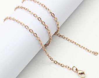 """5 x 18"""" rose gold stainless steel cross chain 
