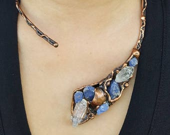 Copper Necklace with Blue Quartz and Natural Crystal