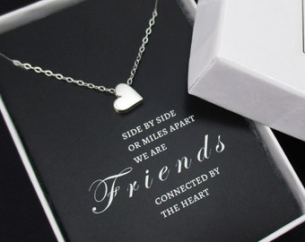Friendship Necklace Sterling Silver Tiny Heart Necklace, Best Friend Gift, Best Friend Necklace with Message Card